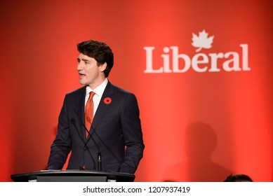 TORONTO - NOVEMBER 2 :Prime Minister Justin Trudeau speaking to a crowd during a fund raising event organized by the Liberal Party of Canada on November 2, 2017 in Toronto, Canada.