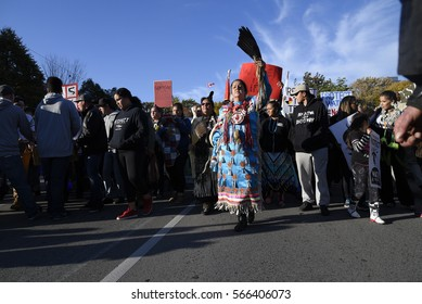 TORONTO - NOVEMBER 5: An indigenous community member leading a march during a solidarity rally with the Dakota Access Pipeline protesters on November 5, 2016 in Toronto, Canada.