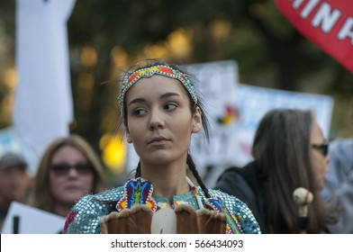 TORONTO - NOVEMBER 5: An indigenous woman dressed in traditional outfit during a solidarity rally with the Dakota Access Pipeline protesters on November 5, 2016 in Toronto, Canada.
