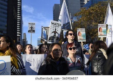 TORONTO - NOVEMBER 5: Protesters of all ages marching during a solidarity rally with the Dakota Access Pipeline protesters on November 5, 2016 in Toronto, Canada.