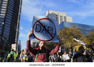TORONTO -NOVEMBER 5: A protestor showing his disapproval towards the Dakota access pipeline during a solidarity rally with the Dakota Access Pipeline protesters on November 5, 2016 in Toronto, Canada.