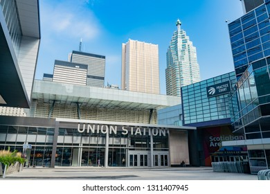 Toronto, OCT 8: Exterior view of the Union Station on OCT 8, 2018 at Toronto, Canada
