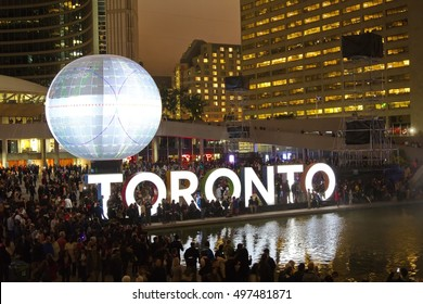 Toronto - October 1: The Oblivion (Death of the Sun by Director X) is night long exposure of the light installation in Nathan Phillips Square during the Nuit Blanche in Toronto, on October 1, 2016.