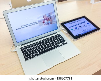 TORONTO - OCTOBER 15: A Macbook Air sits in the Apple Store in Toronto on October 15, 2013.