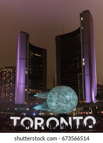 TORONTO - October 2, 2016: Nuit Blanche. Nuit Blanche Toronto is a free, annual, city-wide celebration of contemporary art. Toronto, Ontario, Canada