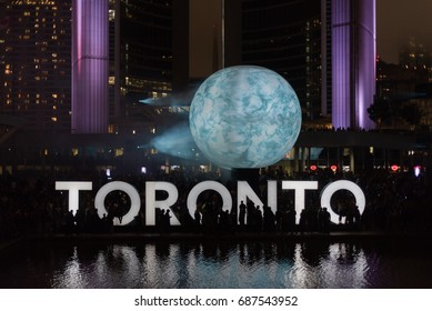 TORONTO - October 2, 2016: Nuit Blanche. Nuit Blanche Toronto is a free, annual, city-wide celebration of contemporary art