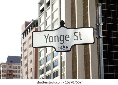 TORONTO - OCTOBER 24: Yonge street sign on October 24, 2013.  Yonge Street was formerly listed in the Guinness Book of Records as the longest street in the world at 1,896 km (1,178 mi).