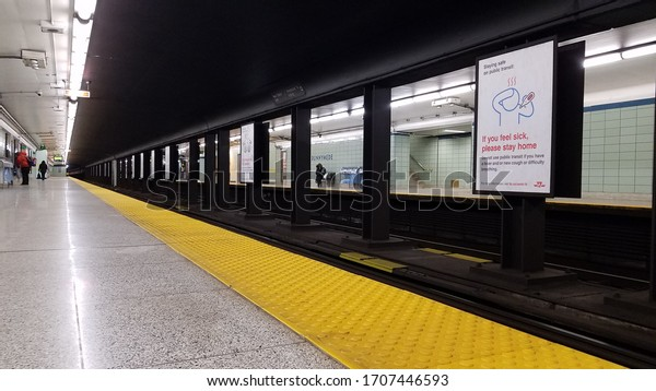 Toronto, ON, Canada - April 16, 2020: View at empty TTC subway station free of passengers in Toronto, Canada.