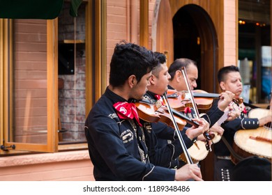 TORONTO, ON, CANADA - JULY 29, 2018: A mariachi band plays in front of a crowd in Toronto's vibrant Kensington Market