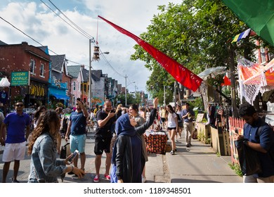 TORONTO, ON, CANADA - JULY 29, 2018: Street view of Kensington market in Toronto