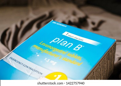 Toronto,  ON, Canada - June 10, 2019: Plan B (Levonorgestrel) contraception package on top of the wrinkled blankets.