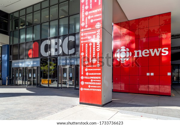 Toronto, On, Canada - May 16, 2020: Entrance to Canadian Broadcasting Centre in Toronto, headquarters of the Canadian Broadcasting Corporation (CBC).