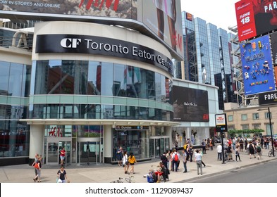 TORONTO, ON / CANADA - MAY 26, 2018: Toronto Eaton Centre, shown here, hosts about fifty million visitors a year.