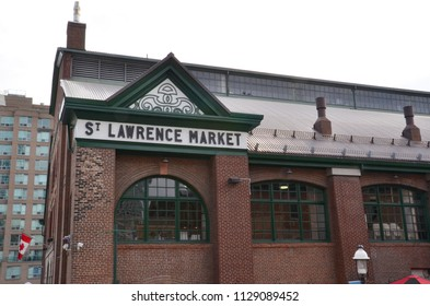 TORONTO, ON / CANADA - MAY 26, 2018: National Geographic named the St. Lawrence Market, shown here, the world's best food market in 2012.