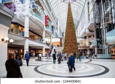 Toronto, ON, Canada - November 20, 2017: Interior of Toronto Eaton Centre Decorated . Eaton Centre is downtown Toronto's only urban shopping centre, with over 230 retailers and restaurants.
