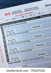 Toronto, ON, Canada November 7, 2017 A blank customs form is given to all guests crossing the boarder into Canada, mandating they list their declarations