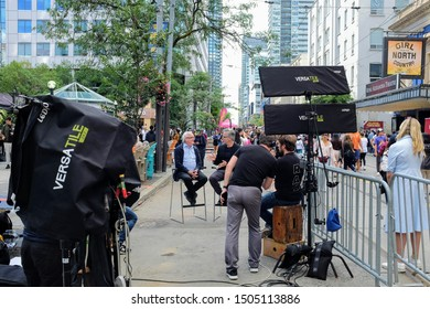 Toronto, ON, Canada - September 7 2019: Toronto International Film Festival studio on King Street with ongoing interview