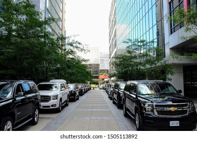 Toronto, ON, Canada - September 7 2019: Toronto International Film Festival vehicles parking and waiting for celebrities