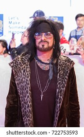 TORONTO ON - SEPTEMBER 13, 2017: Nikki Sixx of Mötley Crüe randomly walked the red carpet of the premiere Long Time Running featuring the Tragically Hip.  Toronto International Film Festival (TIFF)