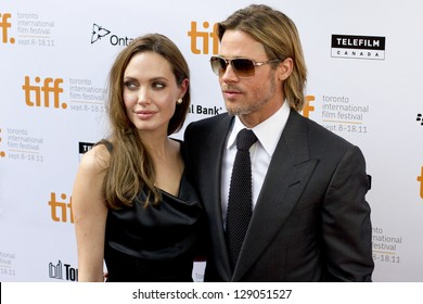 TORONTO, ON/CANADA - SEPT 9, 2011:  Hollywood power couple Brad Pitt and Angelina graces the red carpet for the screening of Brad`s latest flick `Moneyball` on September 9, 2011 in Toronto