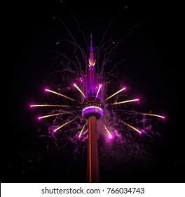 Toronto, Ontario - 06/01/17: CN Tower Fireworks