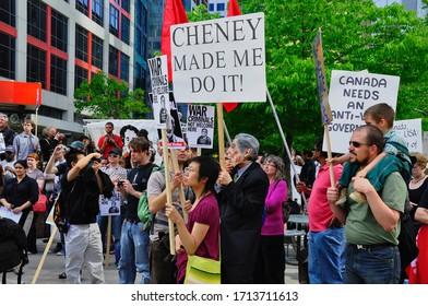 Toronto, Ontario, Canada - 05/29/2009 :  Protestors holding placards on the peace demonstration in Toronto, Ontario, Canada