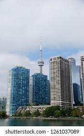 Toronto, Ontario Canada 17 September 2018 Toronto skyline from water, buildings, CN tower