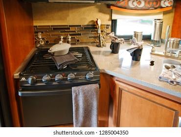 Toronto, Ontario, Canada - 3 july 2015: Camping van interior cabin. RV kitchen interior