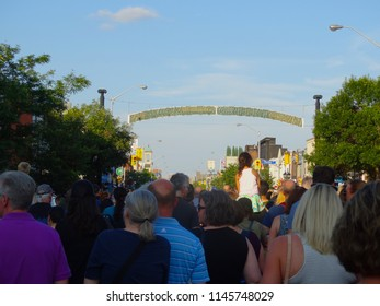 Toronto, Ontario, Canada - 7/25/2018: Memorial sites, vigils and walks along Danforth Avenue in Toronto to remember those killed or injured in mass shooting (22 July 2018).