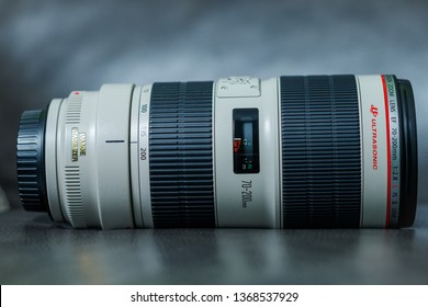 Toronto, Ontario / Canada - April 2019: A Canon EF 70-200mm f/2.8L IS II USM lens for Canon digital SLR cameras