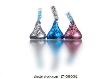 TORONTO, ONTARIO, CANADA – April 26, 2020: Hershey's Kisses is a brand of chocolate first produced by The Hershey Company in 1907. The bite-sized pieces of chocolate have a distinctive shape.