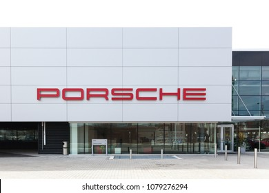 Toronto, Ontario, Canada - April 27, 2018: Exterior view of Porsche Centre North Toronto. Porsche AG is a German automobile manufacturer specializing in high-performance sports cars, SUVs and sedans.