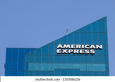 Toronto, Ontario, Canada - April 27, 2018: Sign of American Express on the building at North York in Toronto. The American Express Company is an American multinational financial services corporation.
