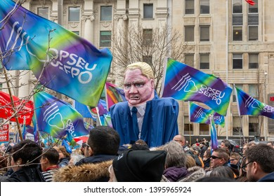 Toronto, Ontario / Canada - April 30, 2019: A protester wore a Doug Ford costume to fight against Doug Ford's changes to Ontario health care.