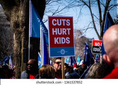 Toronto, Ontario, Canada - April, 6, 2019: Tens of thousands of people gather at parliament to protest Premier Doug Ford's proposed cuts to education.