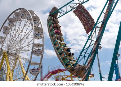 TORONTO, ONTARIO, CANADA - AUG 31, 2018 The Canadian National Exhibition or The Ex as it's known locally, is a late summer annual fair with midway games, rides, food, and agricultural competitions.