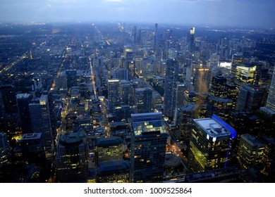 Toronto, Ontario / Canada - August 13, 2017 : Night View of Toronto from CN tower.