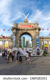 Toronto, Ontario, Canada - August 26, 2019: The Canadian National Exhibition or The Ex as it's known locally, is a late summer fair featuring midway games, rides, food, and agricultural competitions.