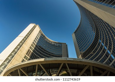 Toronto, Ontario / Canada - August 29, 2016: Toronto City Hall close up, taken from under the dome in Toronto, Ontario.