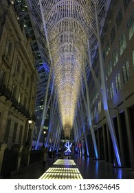 Toronto, Ontario / Canada – December 23, 2015: An evening shot of the Allen Lambert Galleria within Toronto's famous Brookfield Place, with it's Christmas holiday lighting.