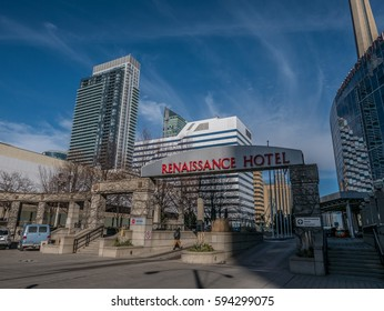 Toronto, Ontario, Canada, February 20, 2017: View of modern buildings in downtown, skyscrapers