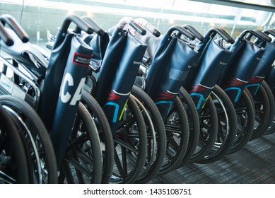 Toronto, Ontario / Canada - February 2018: Wheelchairs At The Pearson Airport Lobby To Provide Accessibility To The Disabled