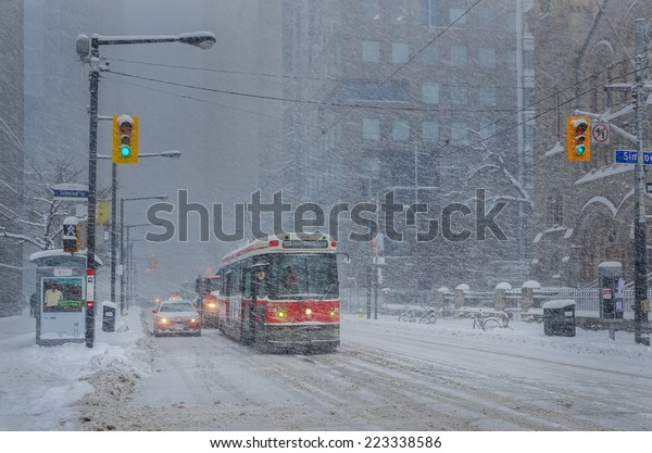 Toronto, Ontario, Canada - February 5, 2014: King Street West during a snow storm