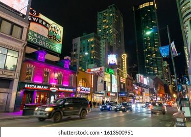 Toronto, Ontario, Canada - Jan 3 2020 -  Toronto cityscape - Yonge–Dundas Square