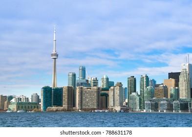 Toronto, Ontario, Canada - January 27, 2016: CN Tower and Toronto Skyline view from Toronto Island