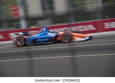 Toronto, Ontario, Canada - July 14 2018: Scott Dixon's qualifying  run for the Honda Indy