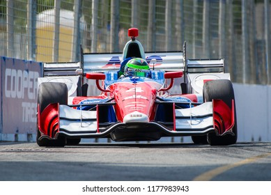 Toronto, Ontario, Canada - July 15 2017: Conor Daly in a practice session at the Honda Indy