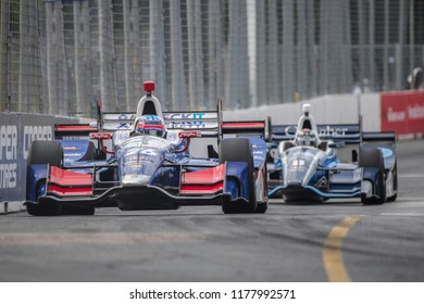 Toronto, Ontario, Canada - July 15 2017: Takuma Sato in practice for the Honda Indy at Exhibition Place