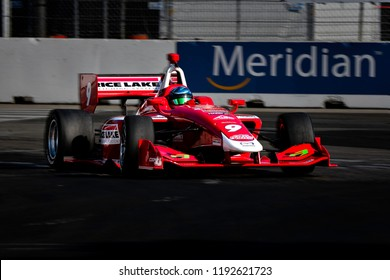Toronto, Ontario, Canada - July 15 2018: Aaron Telitz in the Indy Lights race at Exhibition Place