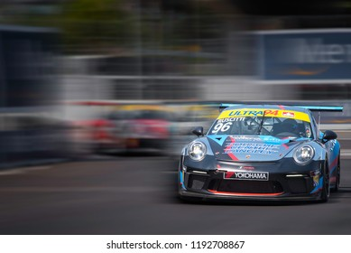 Toronto, Ontario, Canada - July 15 2018:  Remo Ruscitti in the Porsche GT3 Cup race at the Honda Indy